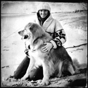 Dog, woman, beach